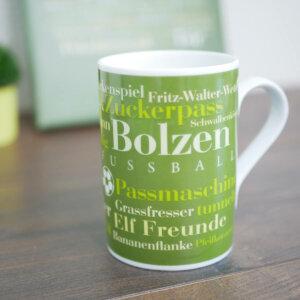 Tasse für Fußball Fans mit vielen Fußball Wörtern