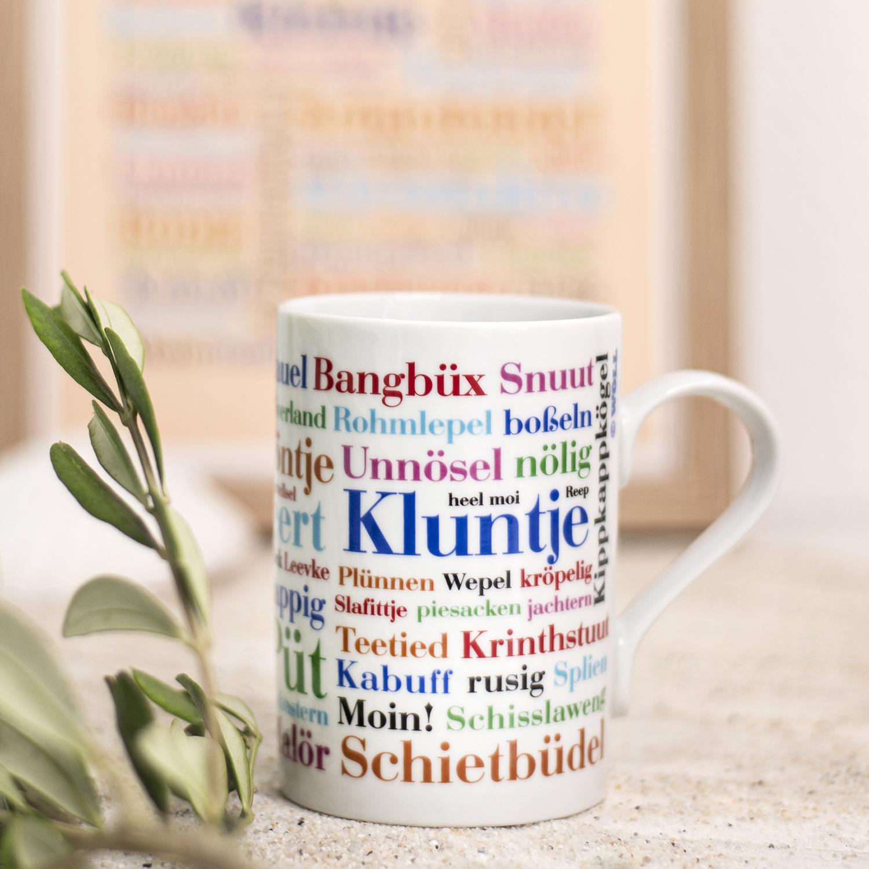 Tasse mit Ostfriesischen Wörtern als Geschenkidee.